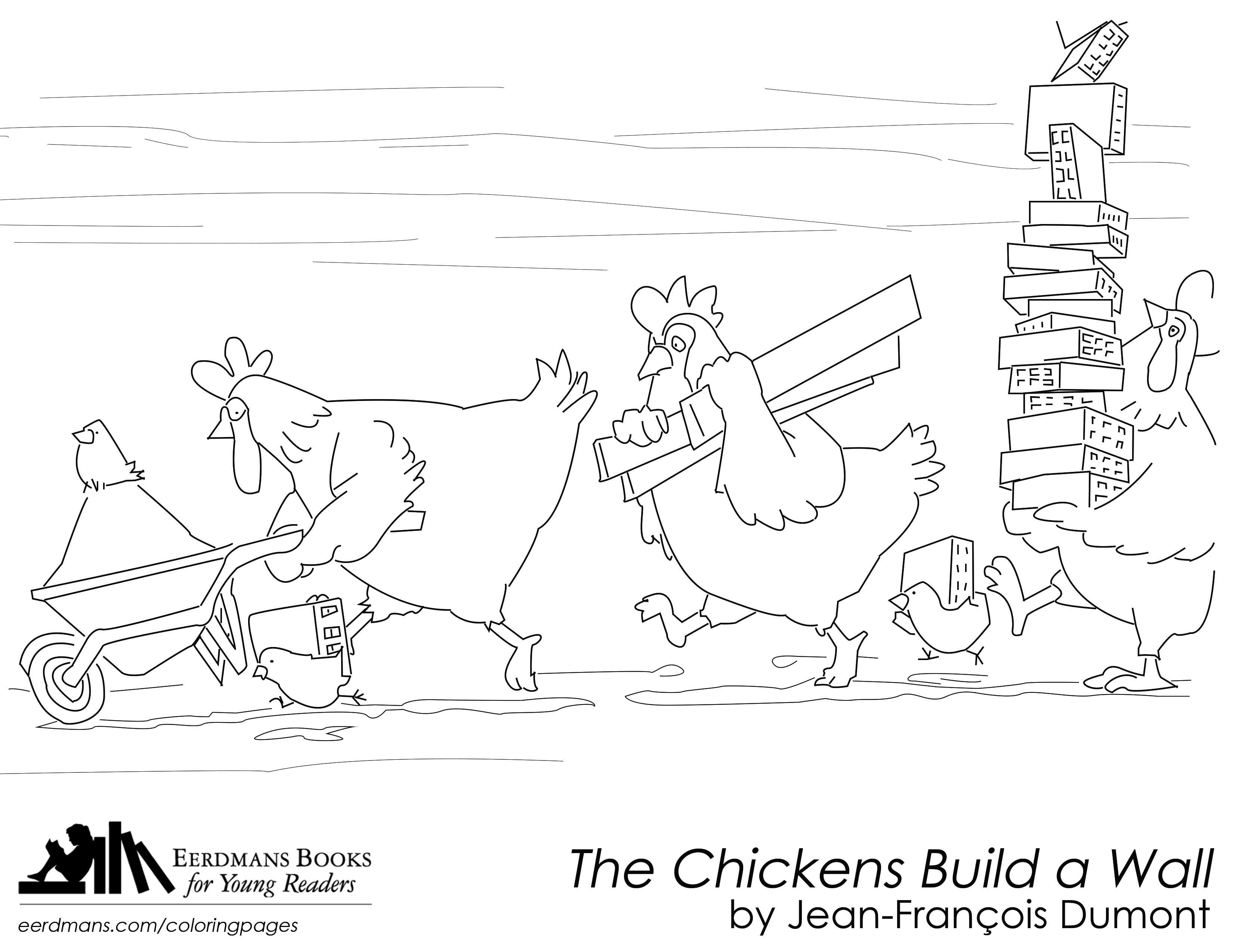 The Chickens Build a Wall coloring page